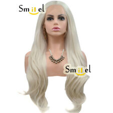 Platinum Blonde Lace Front Wig Synthetic Hair Natural Hairline Long Wavy Wigs