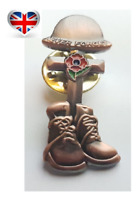 2020 Never Forget Remembrance Day Soldier Helmet Boot Red Poppy Pin Badge Brooch