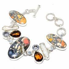 "Maligano Jasper, Biwa Pearl Silver Fashion Jewelry Bracelet 7-8"" SB4321"