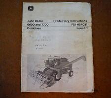 John Deere 6600 & 7700 Combines Dealer Predilvery Instruction Manual PDI-H84021