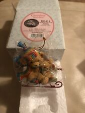 Cherished Teddies Girl With Teddies Sled Hanging Ornament New 865141