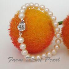 "Genuine ROUND 9-10mm White Pearl Bracelet 7.5"" Cultured Freshwater"