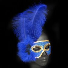 Blue & Gold Masquerade Mask With Blue Feathers Pk 1