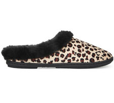 NWT Charter Club Leopard Micro Velour Faux-Fur Scuff Slippers Indoor Outdoor XL