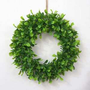 """16.5"""" Boxwood Wreath Farmhouse Greenery Wreath for Front Door Hanging Wall Decor"""