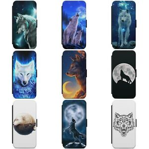 BEAUTIFUL WOLF MOON ART ANIMAL WALLET FLIP PHONE CASE COVER FOR HUAWEI MODELS