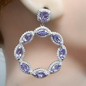 World Class 3.90tw Tanzanite & Diamond Cut White Sapphire 925 Silver Earrings