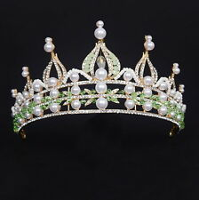 7cm High Adult Big Green Crystal Beads Pearl Tiara Crown Wedding Pageant Prom