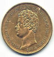 Italia 20 Liras 1834 Carlos Alberto Oro Hierro Sicilia Cerdeña @ Bella @