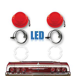64 Chevy Impala Bel Air Biscayne LED Tail Light Lens & Chrome Trim w/ Gasket Pr