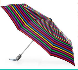 """Totes Large Striped Auto Open/Close Umbrella 55"""" Coverage W/ Sunguard & NeverWet"""
