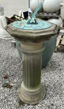 Antique Garden Bronze Sundial - Solid Stone Column