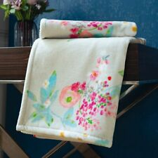 BOUDOIR BY YVES DELORME FRANCE, COTTON VELOUR BATH TOWELS, FLORAL DESIGN