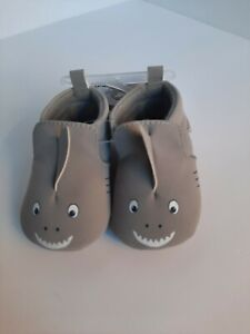 New Carter's Baby Shark Shoe's, 0-3 Months, Gray with Face & 3 Fins