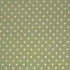 Sage Green 100 Cotton SML White Polka Dot Spot Fabric