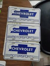 Chevy license plate Total of 3 Metal Tag Auto Car NEW VTG Chevrolet Motorsports