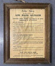 "WW2 ""AIR RAID DANGER"" POSTER RARE ORIGINAL IN FRAME UNTOUCHED HOME GUARD ALFORD."