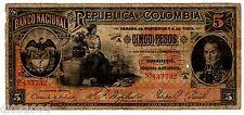 Colombie Colombia Billet 5 PESOS BOGOTA  1895 P235 SERIE A BOLIVAR BON ETAT