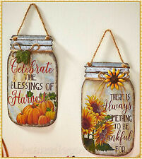 MASON JAR Fall Harvest Sentiment SIGN Fall Autumn Thanksgiving Wall Hang Decor