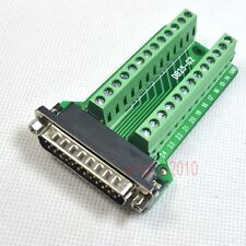 Right Angle D-SUB DB25 Male Header Breakout Board, Terminal Block Plug Connector