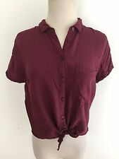 GARAGE Button Front Tie Front Shirt Blouse Maroon Size S