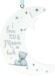 """Me To You Bear Tatty Teddy Hanging Gift Moon Plaque """" I Love you To the Moon and"""