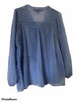 DENIM 24/7 Plus Size 12W Periwinkle  Sheer Asymmetrical Pull Over Shirt
