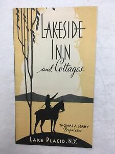 Vintage 1920's Advertising Brochure Lakeside Inn & Cottages  Lake Placid NY