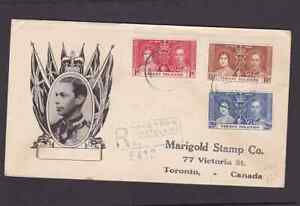 Virgin Islands 1937 registered FDC 1st day cover to Canada KGVI Coronation