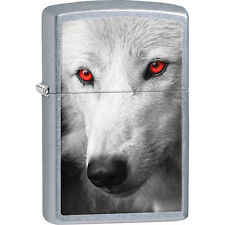 Majestic White Wolf With Red Eyes Zippo Lighter - Zippo Wolf Lighter