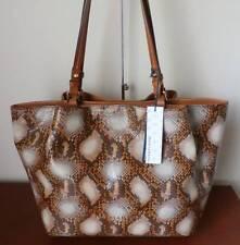 New~Dooney & Bourke City Python-Embossed Leather Flynn Shoulder Bag~Cream