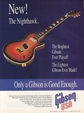 "1994 Gibson USA ""The Nighthawk"" Guitar photo ""Brightest & Lightest"" print ad"