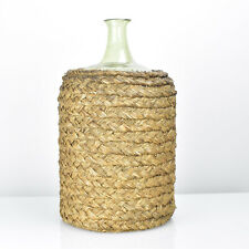 Large Antique French Straw Basket Protected Demijohn Glass Bottle 19th Century