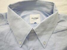 E7947 Olymp Tendenz Businesshemd Kombimanschette 41 hellblau, weiß gemustert