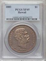 HAWAII KALAKAUA 1883 DALA/DOLLAR SILVER COIN, CERTIFIED BY PCGS XF45