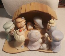 VINTAGE BUMPKINS NATIVITY FIGURES PLUS MANGER =11PCS XLNT CONDITIONS COLLECTIBLE