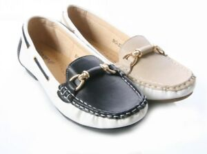 WOMENS LADIES TWO TONE LOAFERS WITH METAL TRIM WORK SECRETARY SHOES SIZE 3 -8