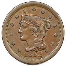 1852 Braided Hair Large Cent Coin 1c
