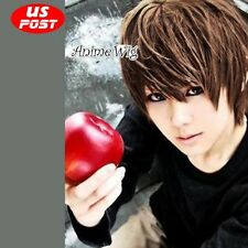 Light Yagami Anime Cosplay Short Brown Layered Men Hair Wig Cosplay Party