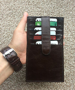 Real Leather Card Holder Long Wallet Long 12 Cards Brown Unisex Gift Slim Purse