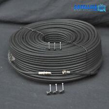 30m Black RG6 Satellite Freesat Digital TV Aerial Sky Coax Cable + Fitted F plug