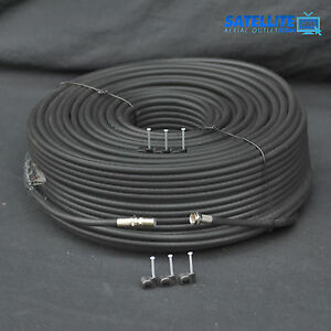 10m Black RG6 Satellite Coax Cable For Sky Freesat TV Aerial + Fitted F plug