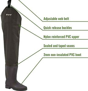 Frogg Toggs Rana II PVC Bootfoot Hip Wader, Cleated Assorted Sizes Brown