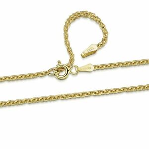 Amberta Genuine Solid 10k Gold Chain Adjustable Necklace for Women and Men