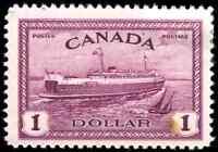 Canada #273 mint F-VF OG HR 1946 Peace $1 red violet Train Ferry CV$42.50
