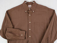Vtg BROOKS BROTHERS 100s 2-ply Brown Check Plaid Button Dress Shirt Men's M L 16