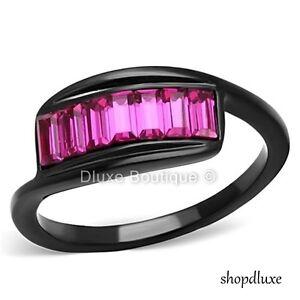 Women's Emerald Cut Fuchsia Pink CZ Black Stainless Steel Fashion Ring Size 5-10