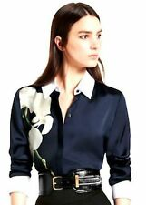 Altuzarra for Target Satin Orchid Print Oxford Shirt Navy Midnight Blue Blouse