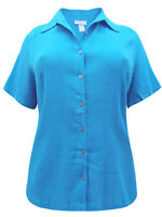 Turquoise Blouse Plus Size 30/32 34/36 38/40 Crinkle Cotton Buttoned Shirt 262