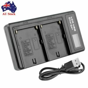 LCD Dual Battery Charger for Sony NP-F550 F750 F960 FM50 FM70 FM90 QM91D AU Post